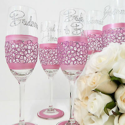 Wedding Party Champagne Glass Personalised Wedding Day Keepsakes Lace