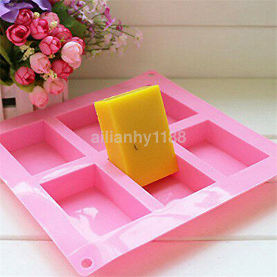 6-cavity Plain Basic Rectangle Silicone Mould for Homemade Craft Soap Mold AU