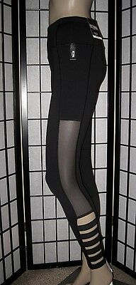 Nwt Victoria's Secret Sport Black Mesh Strappy Side Knockout Yoga Tight Leggings
