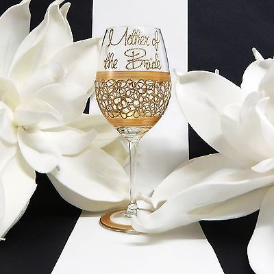 Mother of the Bride Gold Wine Glass Personalised Wedding Keepsake Lace