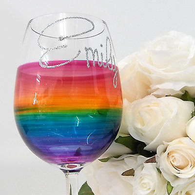 Rainbow Glass Personalised Wine or Champagne Birthday Glass and Celebration Gift