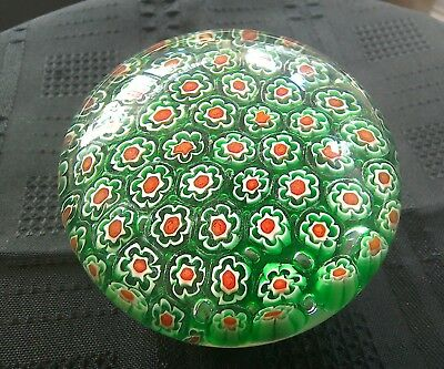 Lovely vintage Murano Millefiori green glass paperweight.