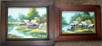 Two oils on canvas/board of Asian fishers villages scenes by Gris