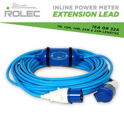 Rolec Inline Power Meter Extension Lead 1M-25M 240V Kwh Marine Hook Up 16A / 32A