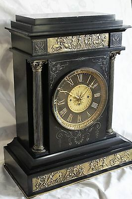Antique triple fusee Massive mantle clock signed British museum