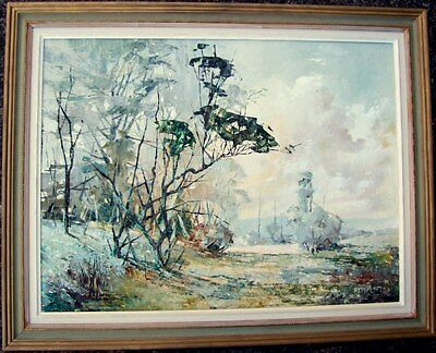 "Large framed oil on canvas/board ""Prelude"" by Amy Lofts (1907-?)"