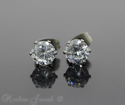 6Mm Round Simulated Diamond Silver Surgical Steel Stud Mens Womens Earrings
