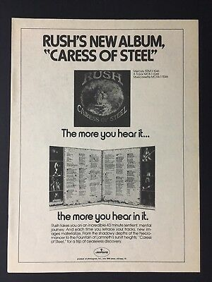 "Rush ""Caress Of Steel"" 1975 Original 8.5X11"" Full Page Print Promo Ad"