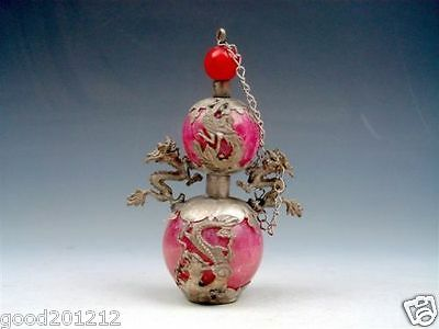 Collectible Decorated old tibetan red jade perfume bottle inlay dragon & phoenix