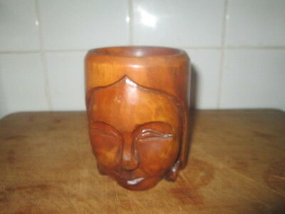 hand carved wooden tankard from the south seas