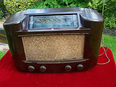 Vintage Valve Radio By Philips Large Bakelite