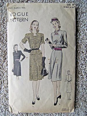 "1940s Vintage Vogue Pattern No. 5493 Size 14 One-Piece Dress ""Easy-to-Make"""