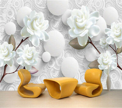 White Peony 3D Full Wall Mural Photo Wallpaper Printing Home Kids Decoration