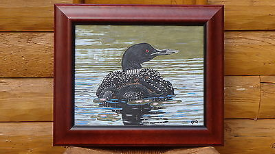"""Loon with Chick Riding on her Back (11' x 14"""") Painting by the Artist"""