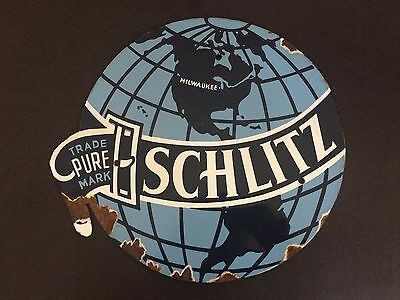Scarce Vintage Antique Porcelain Commercial Sign - Schlitz Brewing Co.