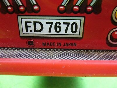 701KB1 Feuerwehrauto FIRE DEPT. F.D 7670, Made Japan; Blech; Tin toys fire truck