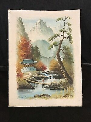 Vintage ASIAN landscape painting waterfall mountain scene signed BAWOO '73