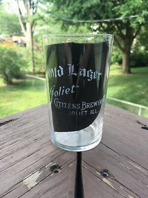 Pre Prohibition JOLIET IL Citizens Brewing Co OLD LAGER Etched Glass PRE PRO