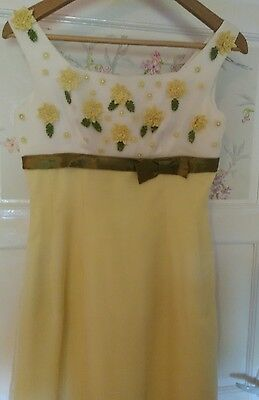 vintage silk yellow daisy dress size 8