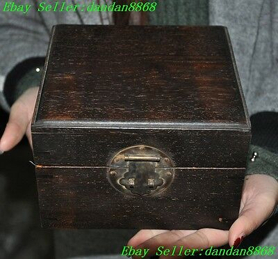 Rare old chinese Rosewood wood Hand-carved decoration Jewelry boxes storage box