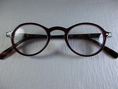 OLIVER ROUND Garnet~Wine~Tortoise Horn Rim Spring Temple Reading Glasses +1.75