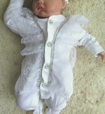 Romany Bling Unique Baby' Lace Frill Diamante Crystal Sleepsuit Babygrow Romper