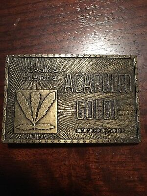 """Vintage Acapulco Gold Weed Brass Belt Buckle -  """"bay State Jewelry"""""""