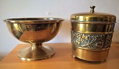 Antique Brass Tobacco jar / Tin Scottish Thistle and Bowl