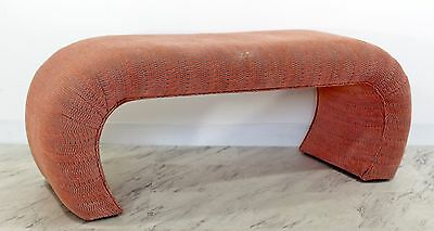 Mid Century Modern Pink Tufted Waterfall Bench Karl Springer Style 1970s