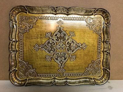 Vintage Florentia Hand Made in Italy Rectangular Wood Tray