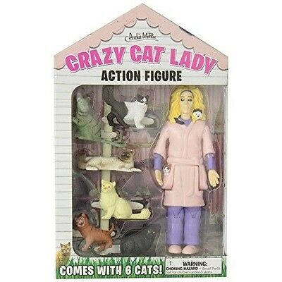 Accoutrements Crazy Cat Lady  Action Figure  Set Includes Wild Eyed Look Crazy