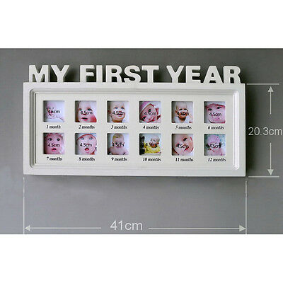 My First Year Baby Picture Frame Commemorative White Display