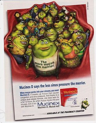 MUCINEX 2008 magazine ad print clipping cute weird THE MORE MUCUS THE MERRIER