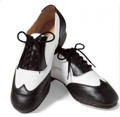 Leo's 2029 Black and White Women's 7.5 Giordano Leather Lace-Up Swing Jazz Shoes