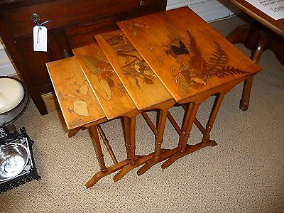 Emile Galle' Style Marquetry Tables x4 Early 20th Century