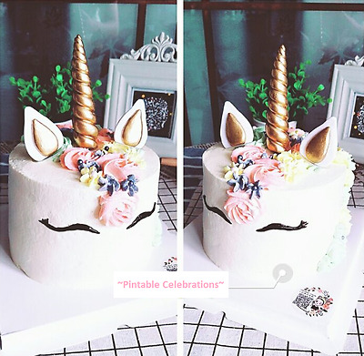 Pre-made gold silver unicorn cake toppers fondant look-like - plus Freebies!