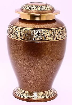 Large Cremation Urn for Adult Ashes, Funeral Memorial Urn Brown/Gold