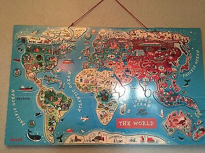Janod Magnetic World Map - good condition, from pet/ smoke free home