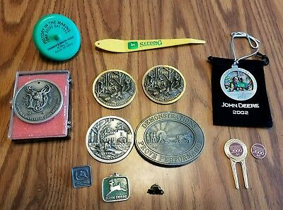 Lot of John Deere ornaments, buckle and pins