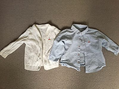 M&s Autograph Baby Cardigan And Shirt Size 6-9 Months Blue White Boat