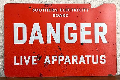 Southern Electricity Board -Danger, Live Apparatus- Vintage Seb Caution Sign