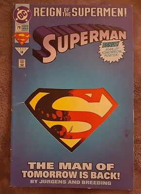 Superman Number 78 To 1993 Reign Of The Supermen! Comic Book