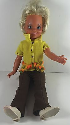 """Vintage Ideal 1971 Dina Doll w/ yellow and brown track suit blonde hair 16"""""""