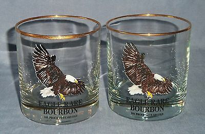 Lot 2 Glass EAGLE RARE BOURBON Whiskey Bar Glasses Cup 10 Year Bird Gold Rim