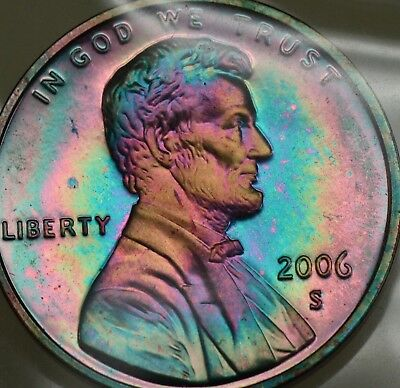 Gorgeous 2006 Lincoln Cent Proof, Rainbow Toned