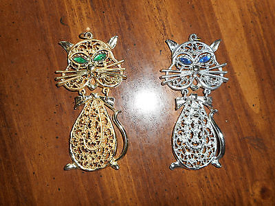"Vintage Lot Of - 2 - Kitty Figures "" Cat Necklaces"" Silvertone & Goldtone"