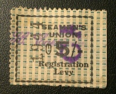 Australia 1923 Revenue 5/- Duty Stamp Registration Levy Seamen's Union