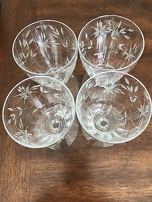 Leaded Antique Wine Glasses Etched