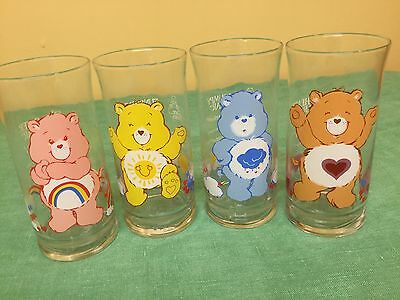 (4) Four CARE BEARS 1983 Pizza Hut Limited Edition Collector's Series Glasses