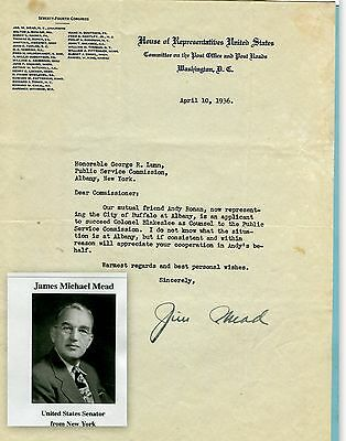 James Mead, US Congressman & Senator, New York, letter of 1936 (3463